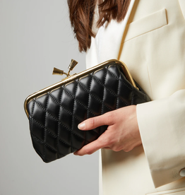 ANYA HINDMARCH Maud Tassel Quilted Clutch - Black