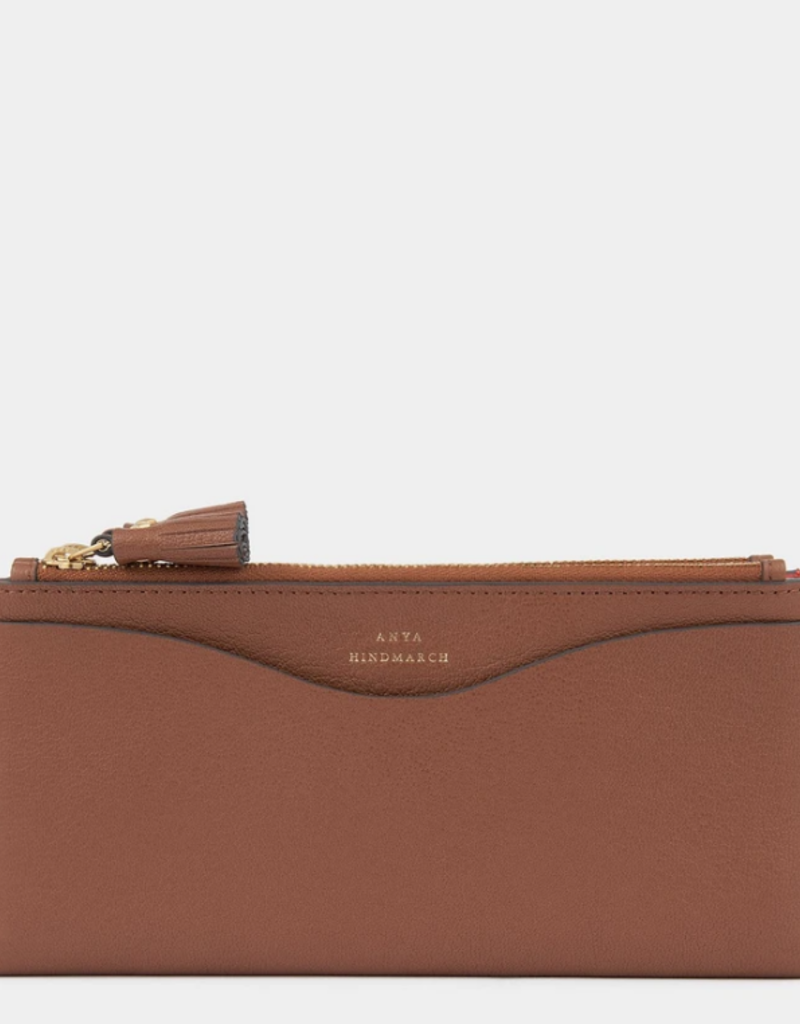 ANYA HINDMARCH Large Double Zip Wallet - Peeping Eyes - Cedar Shiny Capra
