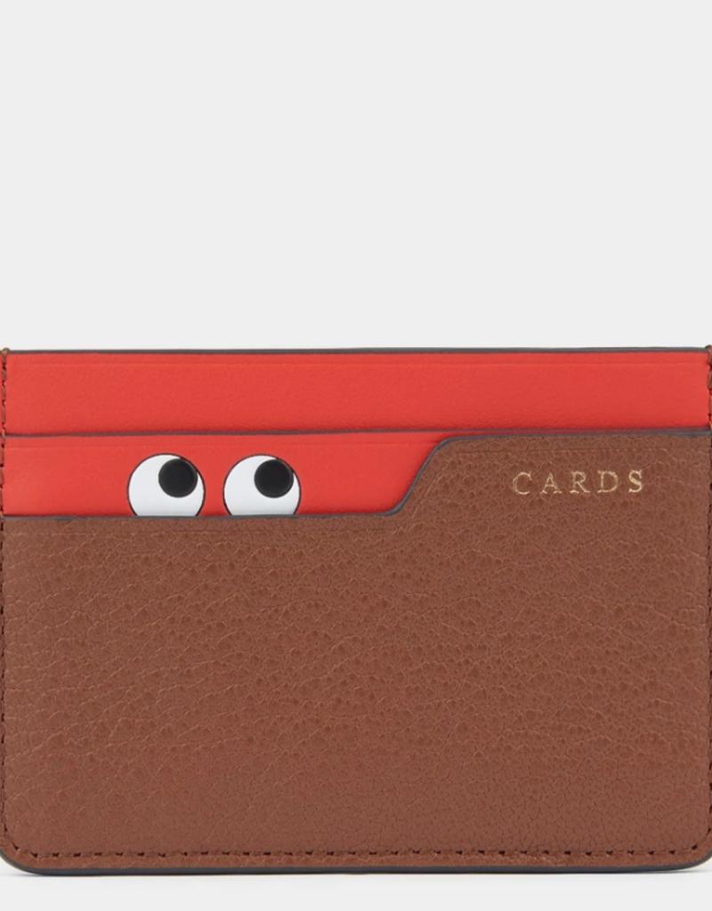 ANYA HINDMARCH Card Case - Peeping Eyes - Cedar Shiny Capra