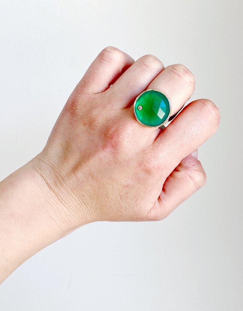 JAMIE JOSEPH Round Rose Cut Green Onyx with Diamond Ring - Size 7.75