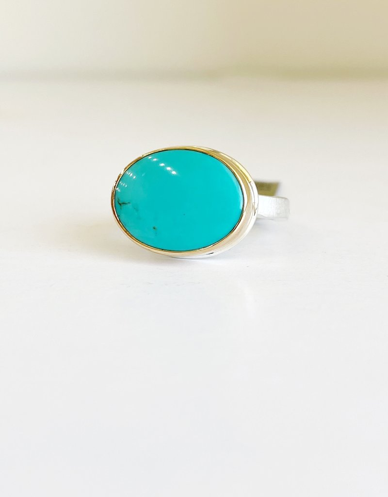 JAMIE JOSEPH Small Oval Smooth Hubei Turquoise Ring - Size 6.75