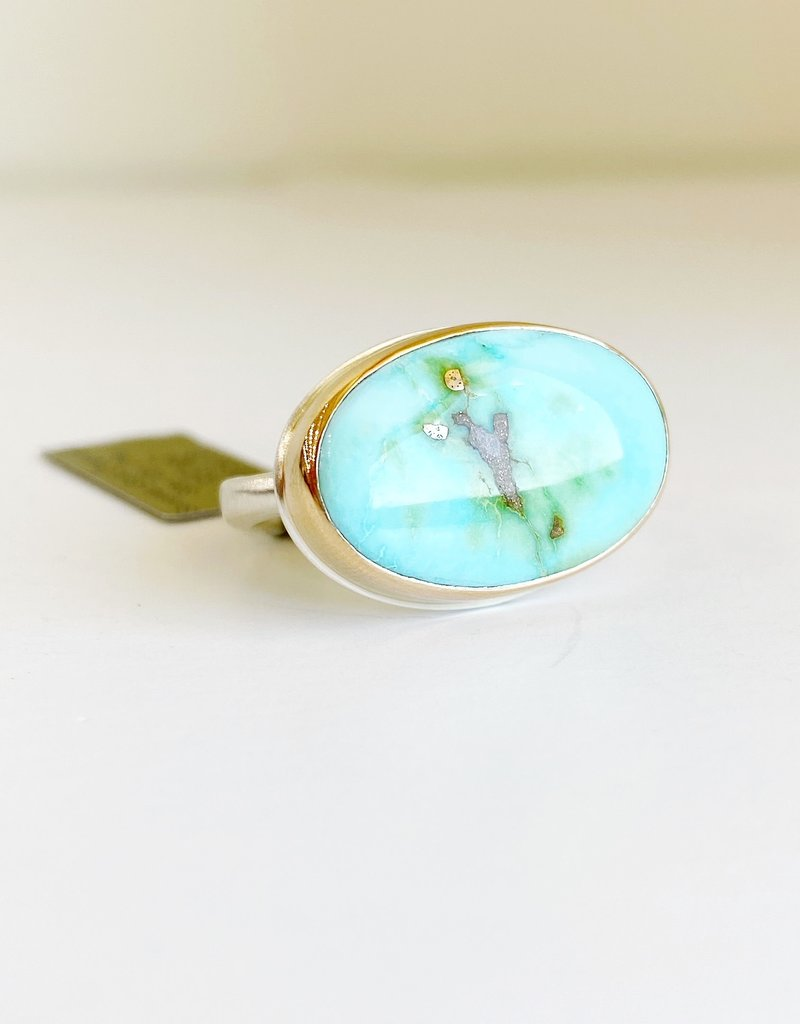 JAMIE JOSEPH Oval Sonoran Gold Turquoise Ring - Size 7.25