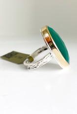 JAMIE JOSEPH Vertical Oval Rose Cut Green Onyx Ring - Size 6.75