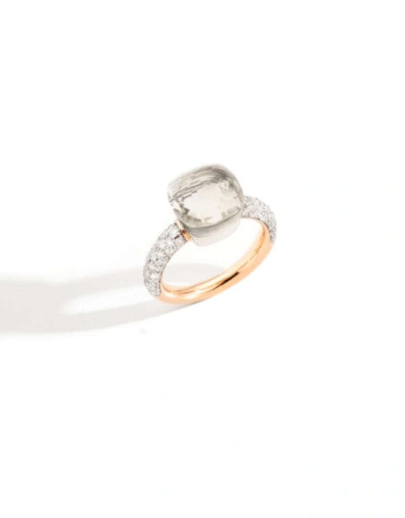 POMELLATO White Topaz and Diamond Classic Nudo Ring
