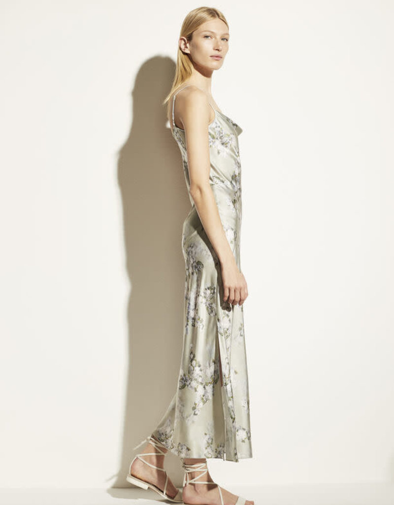 VINCE Hazy Blossom Cowl Neck Slip Dress