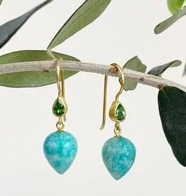 MALLARY MARKS Apple & Eve - Amazonite Drop and Tsavorite Earrings
