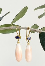 MALLARY MARKS Apple & Eve - Light Blue Sapphire & Angel Skin Coral Drop Earrings