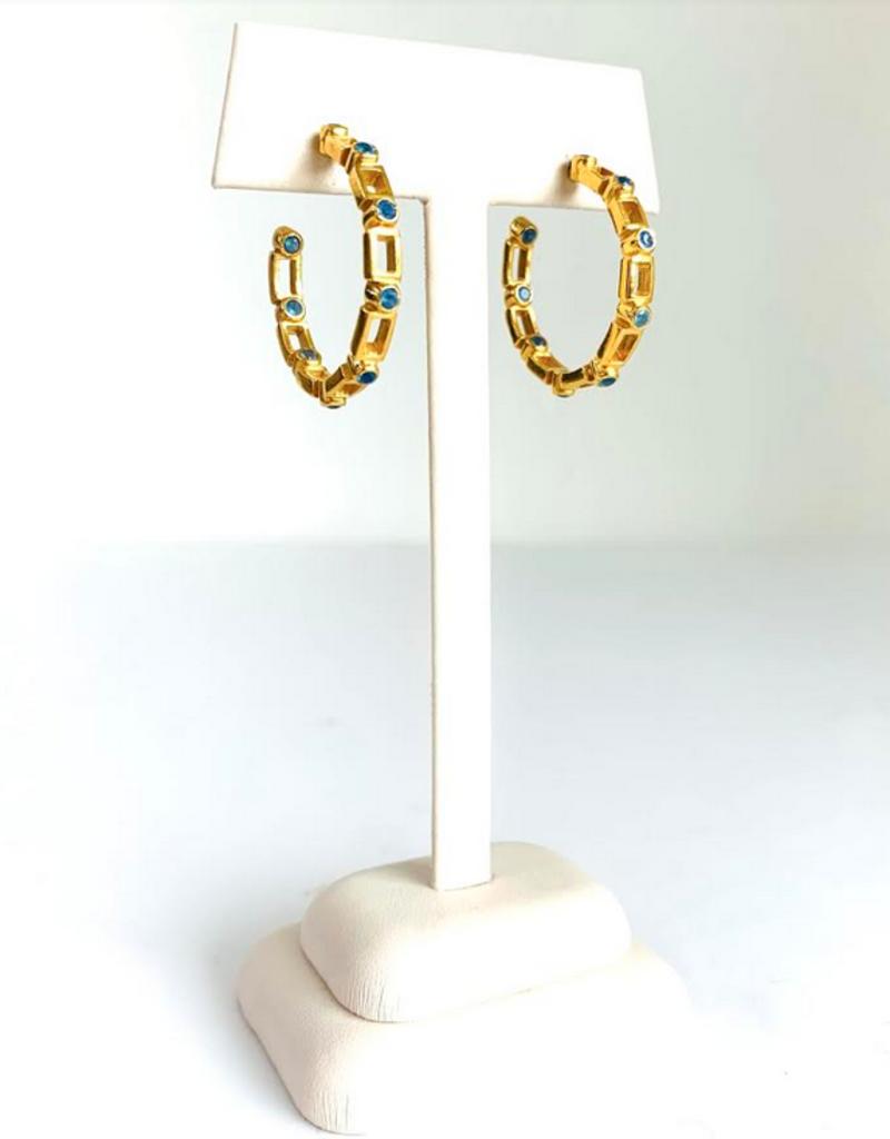 SENNOD Maxine Blue Quartz Hoop Earrings