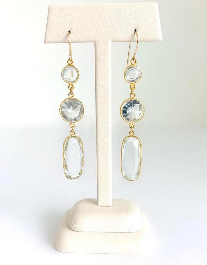 SENNOD Triple Crystal Quartz Earrings