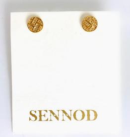 SENNOD Diamond Basket Weave Post Stud Earring