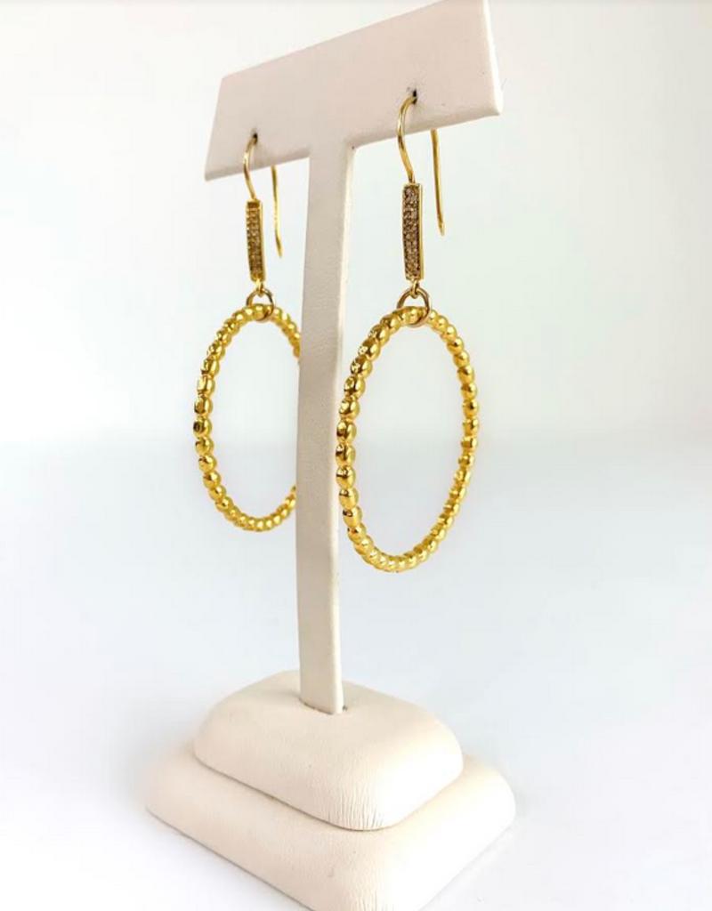 SENNOD Beaded Ring and Diamond Earrings
