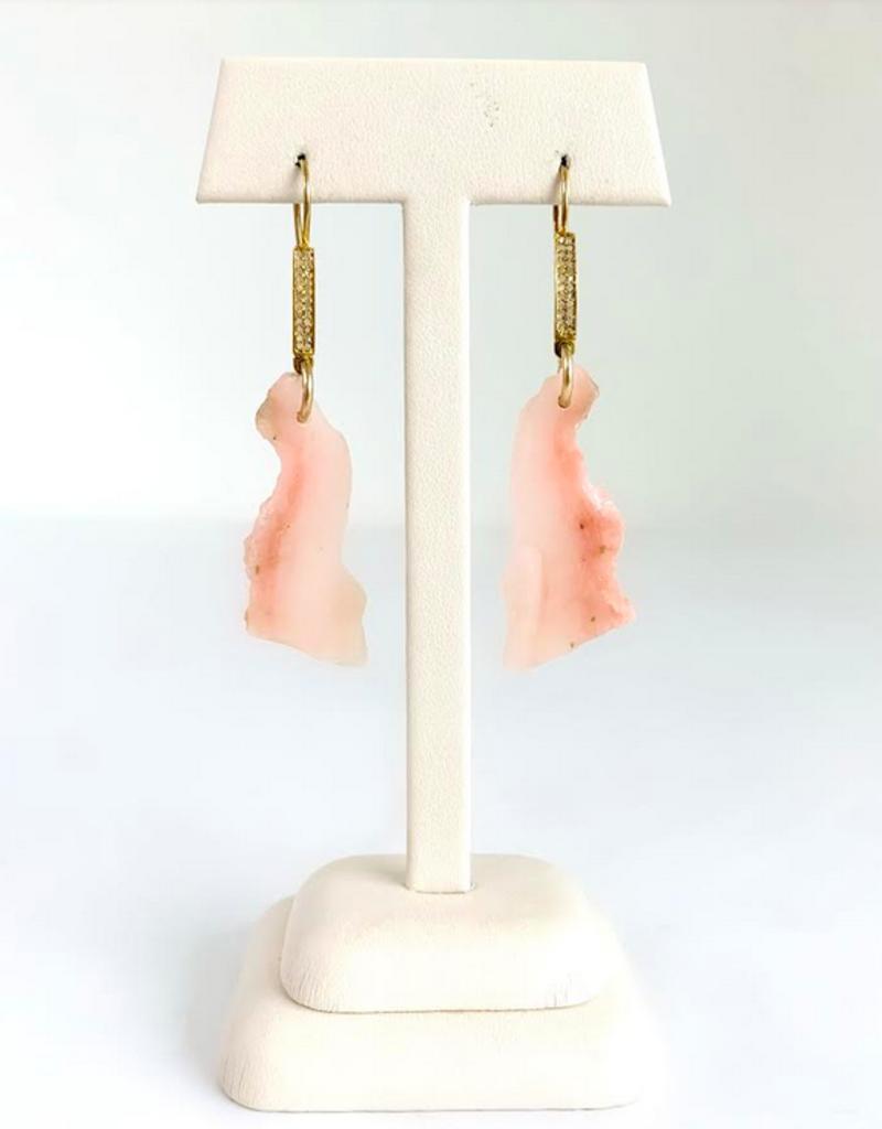 SENNOD Organic Pink Opal and Diamond Earrings