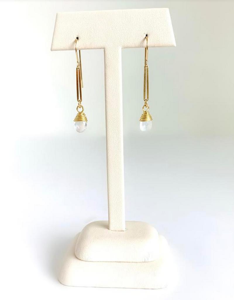 SENNOD Moonstone Teardrop Earrings