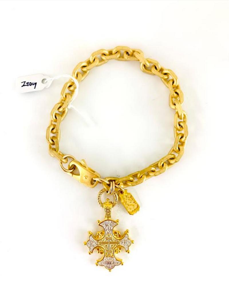 SENNOD Italian Heavy Cuban Bracelet with Cross
