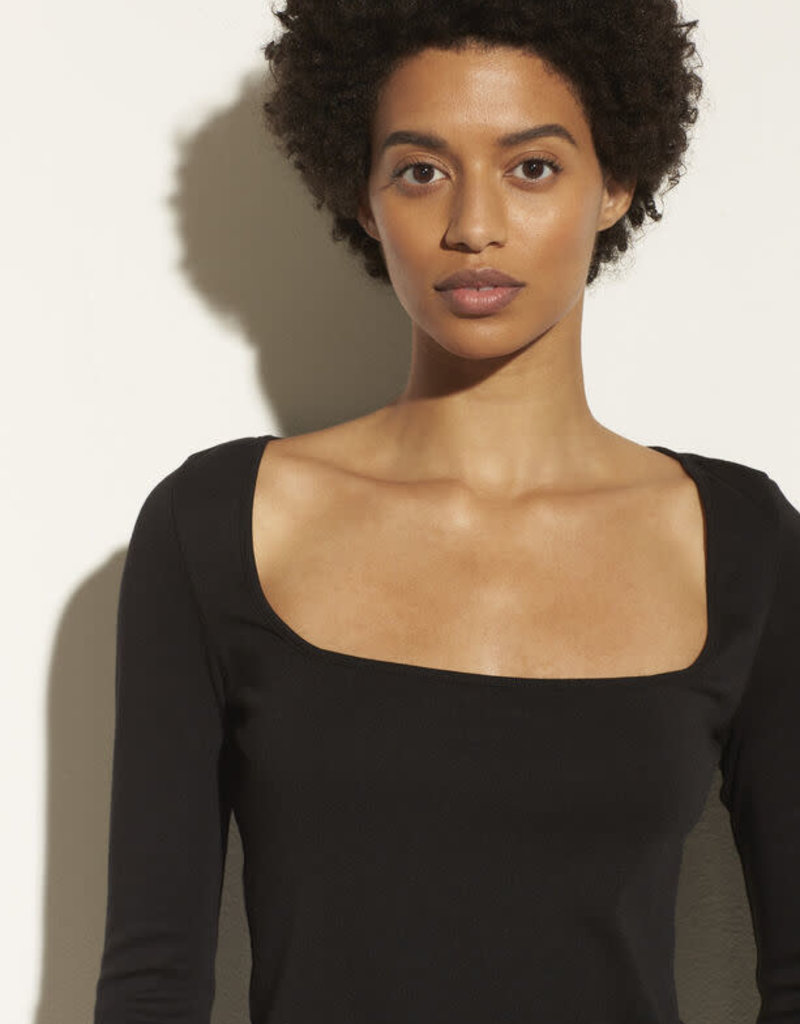 VINCE Long Sleeve Square Neck Top -