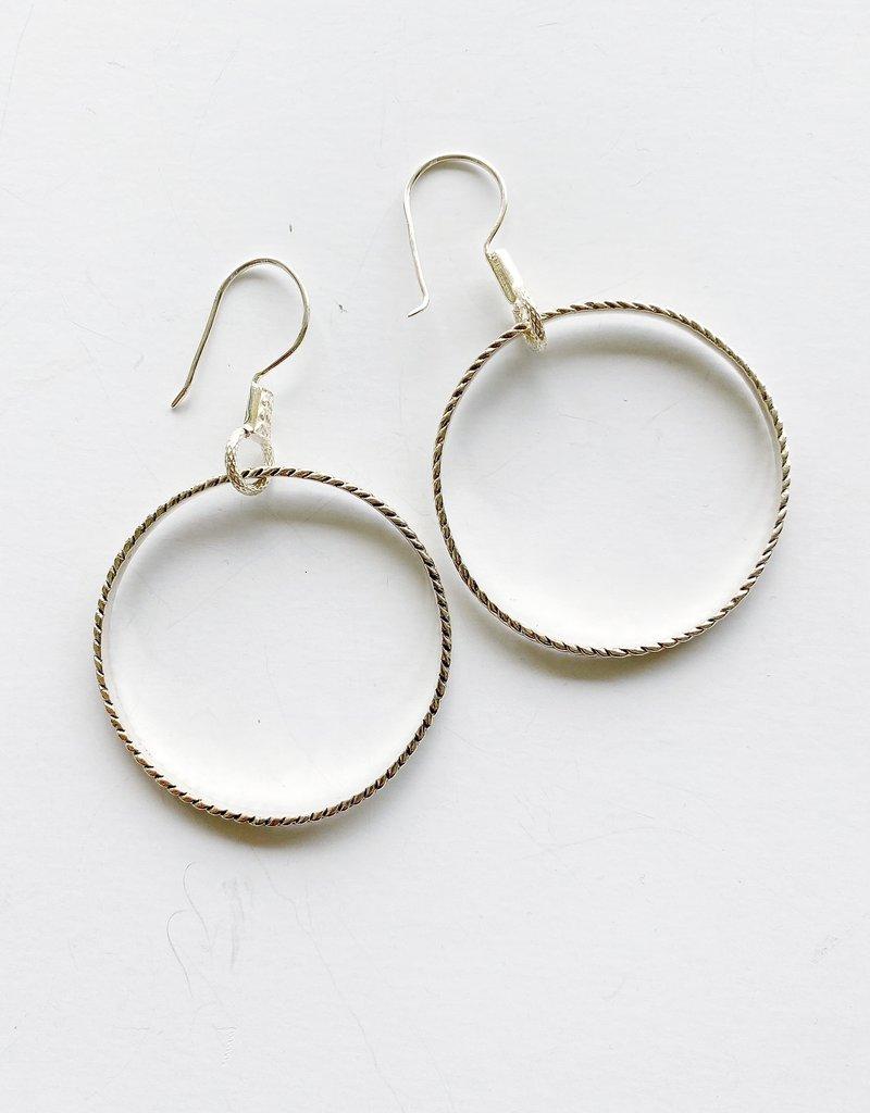 SENNOD Sterling Chevron Hoop  Earrings