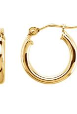 14KT 13mm Tube Hoop Earrings
