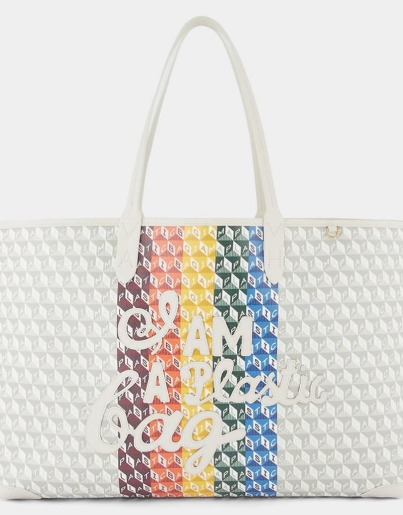 ANYA HINDMARCH I Am A Plastic Bag Tote - Rainbow Motif in Chalk