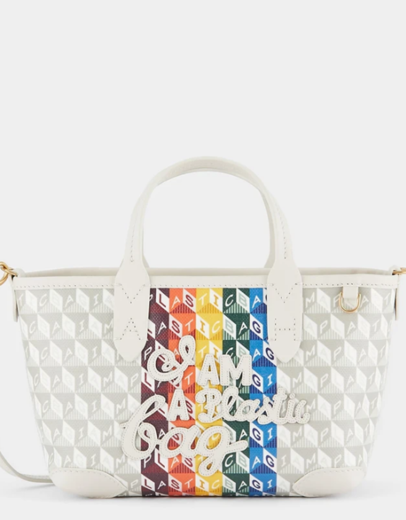 ANYA HINDMARCH I Am A Plastic Bag Mini Tote - Rainbow Motif in Chalk