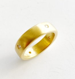 SHANNON JOHNSON 18K Matte 1/2 Round Satin Band Ring with Diamonds - Size 7