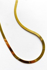 "SENNOD Gold Herringbone 16"" Chain Necklace"