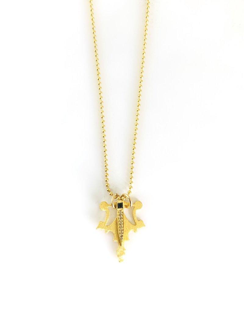 "SENNOD Harper with Diamond + Onyx Dagger 16"" Necklace"