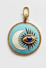 SENNOD Blue Enamel Evil Eye and Crescent Medallion Vignette