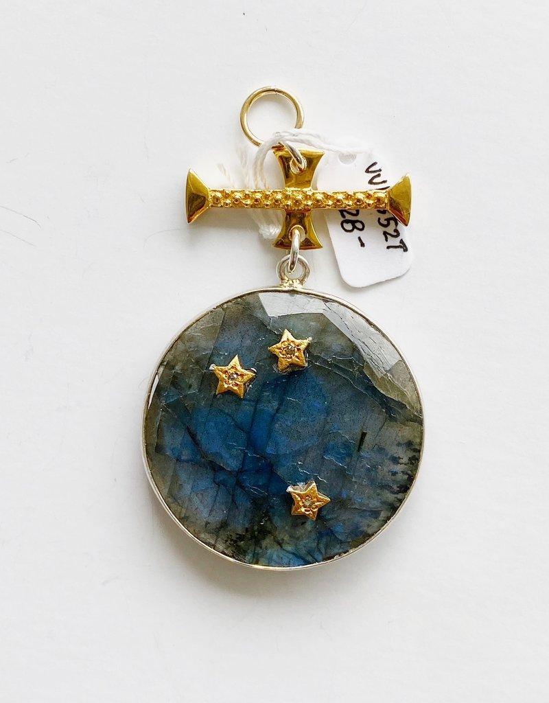 SENNOD Labradorite with Diamond Stars on Bar Vignette