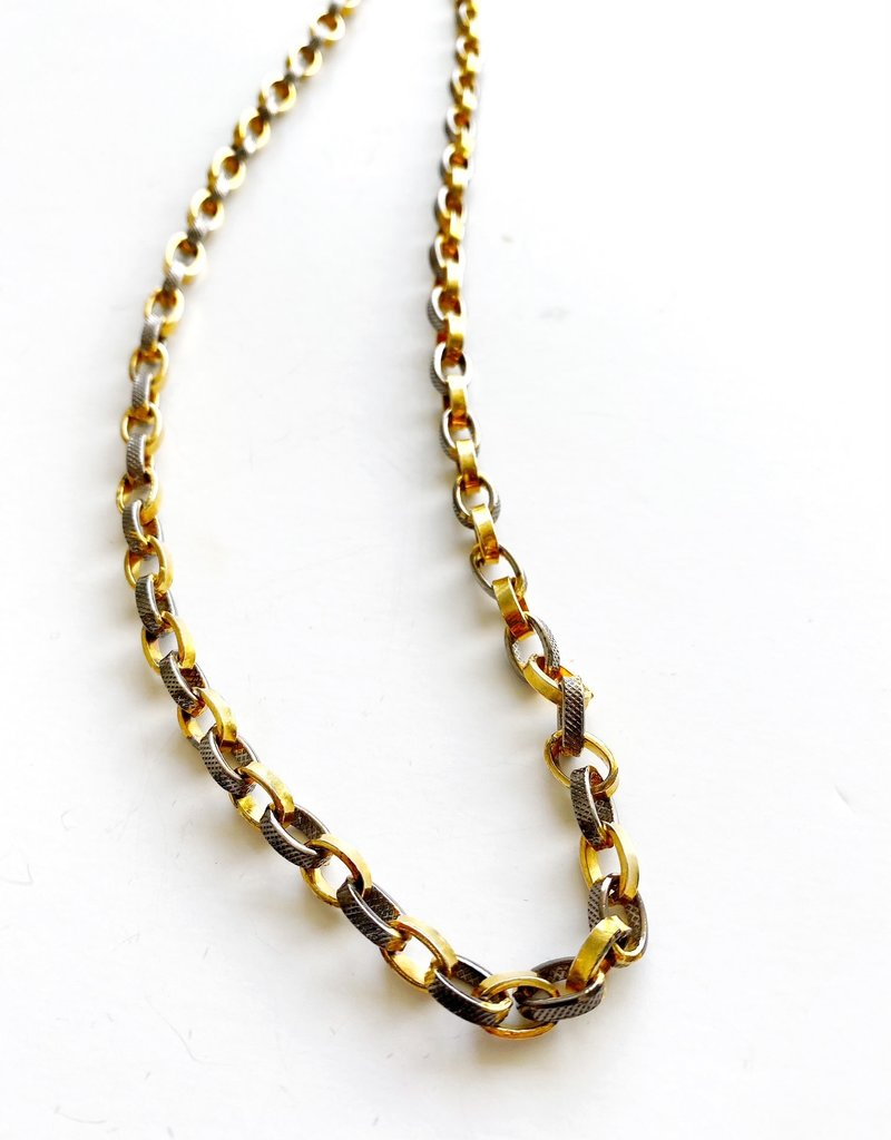 """SENNOD Two-tone Thick Oval Link 30"""" Necklace"""