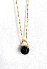 "SENNOD Black Onyx Ball 16"" Necklace"