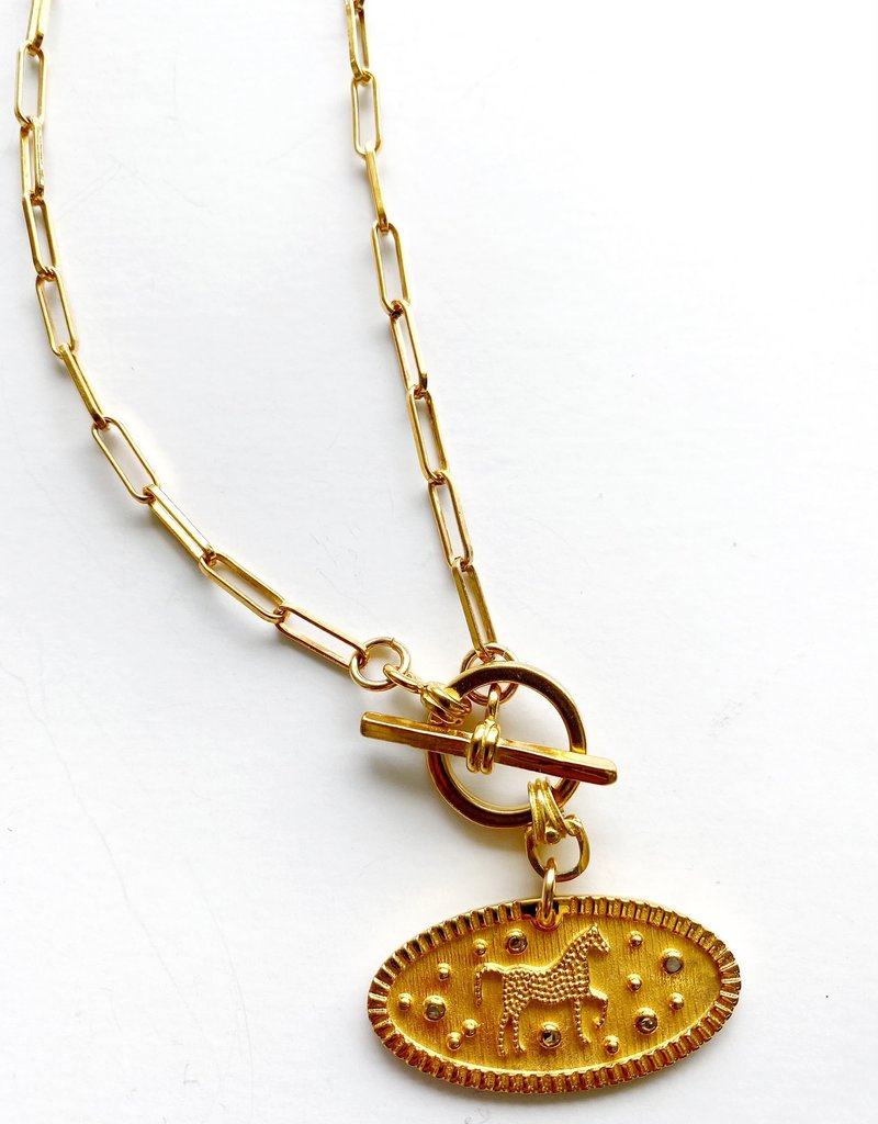 "SENNOD Diamond Derby Toggle 18"" Necklace"