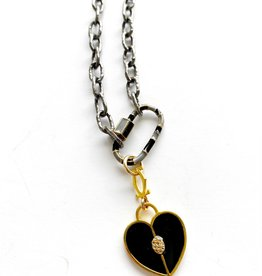 "SENNOD Black Diamond Enamel Heart 18"" Necklace"