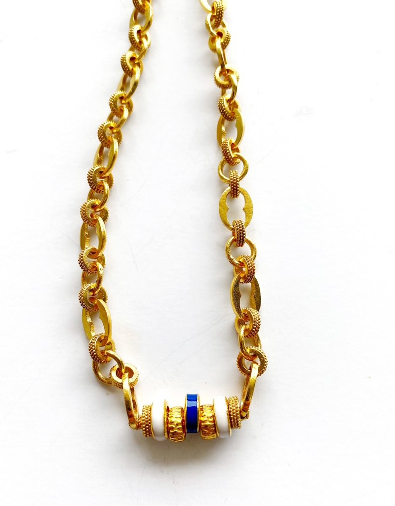 """SENNOD Athena Chain with Enamel Rings 18"""" Necklace"""