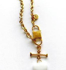 "SENNOD Athena Chain with White Onyx 20"" Necklace"