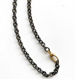 """SENNOD Gunmetal Oval Chain with Gold Clasp 22"""" Necklace"""