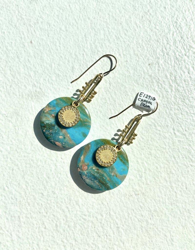 SENNOD Chrysoprase with Diamond - Gold Earrings