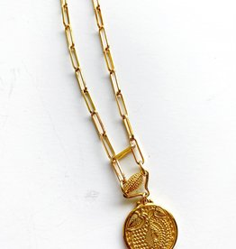 """SENNOD Botanic Medallion Paperclip 18"""" Necklace"""