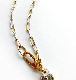 "SENNOD Two-tone Diamond Lock 16"" Necklace"