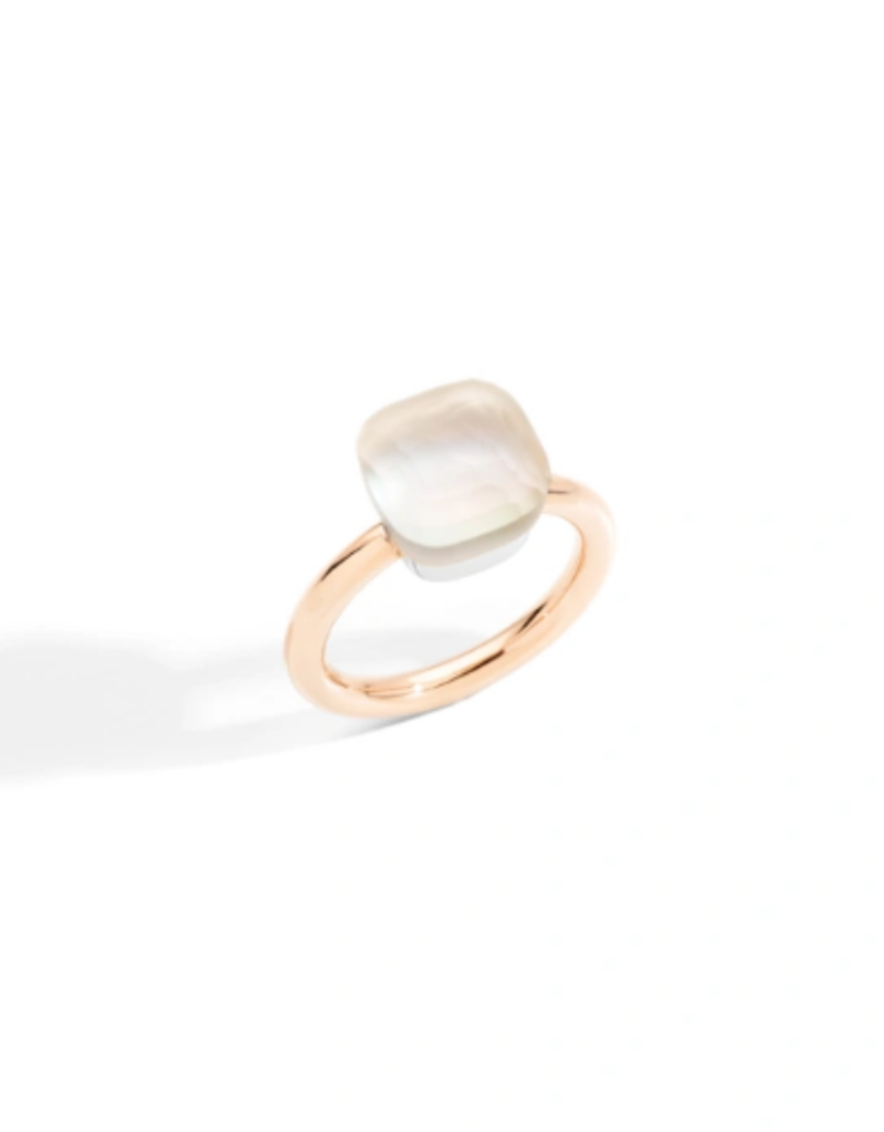 POMELLATO Classic Nudo Gele White Topaz with Mother of Pearl Ring