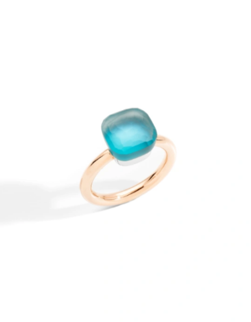 POMELLATO Classic Nudo Gele Sky Blue Topaz with Mother of Pearl Ring