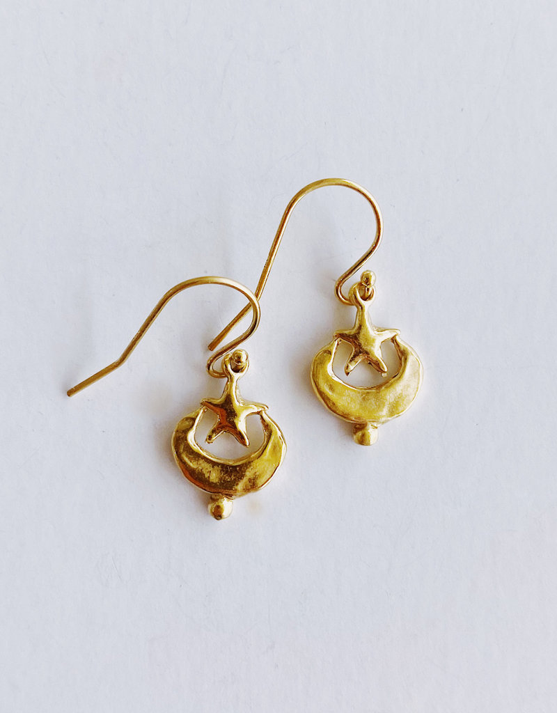 ERICA COURTNEY Quarter Moon and Star Earrings
