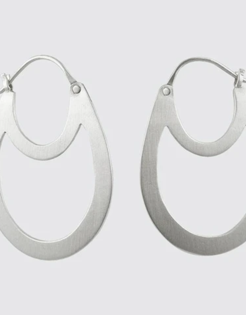 JANE DIAZ Silver Double Oval Hoop Earrings