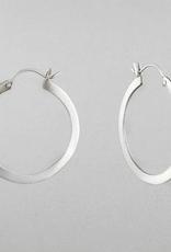 JANE DIAZ Silver Flat Medium Hoop Earrings