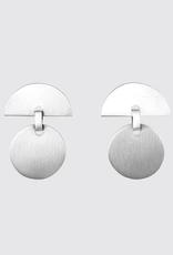 JANE DIAZ Silver Half Moon / Full Moon Stud Earrings