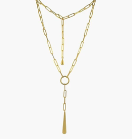 JANE DIAZ Paperclip Necklace with Large Drop