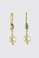 JANE DIAZ Small Pearl and Rainbow Moonstone Marquis Drop Earrings