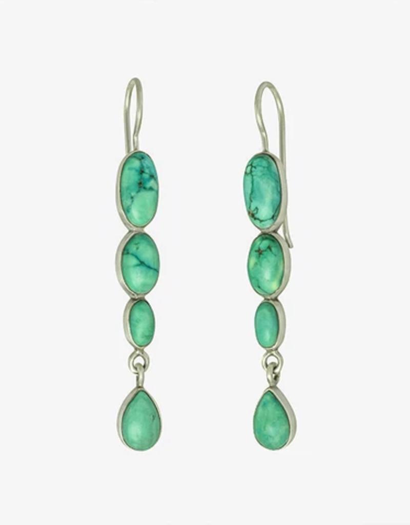 JANE DIAZ Triple Oval Turquoise Sterling Drop Earrings