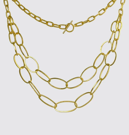 JANE DIAZ Double Strand Oval Link Chain Necklace
