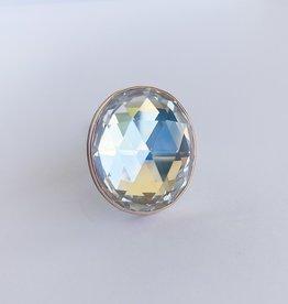 JAMIE JOSEPH Vertical Rose Cut Rock Crystal Ring