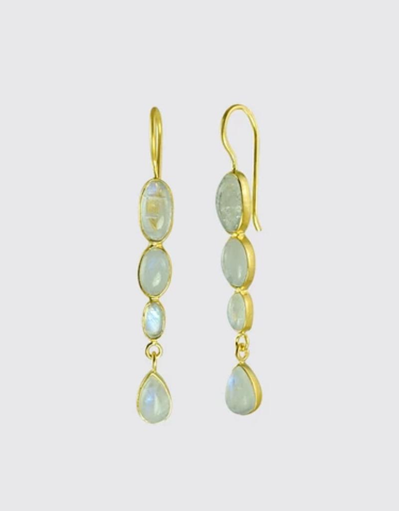 JANE DIAZ Triple Oval Rainbow Moonstone Drop Earrings